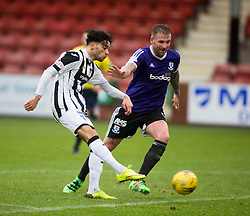 Dunfermline&rsquo;s Faissal El Bahktaoui and Ayr United&rsquo;s Ryan Stevenson. <br /> Dunfermline 3 v 2 Ayr United, Scottish League One played at East End Park, 13/2/2016.