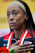 Chanelle Price of USA listens national anthem and cries while medla's ceremony after in women's 800 meters during the IAAF Athletics World Indoor Championships 2014 at Ergo Arena Hall in Sopot, Poland.<br /> <br /> Poland, Sopot, March 9, 2014.<br /> <br /> Picture also available in RAW (NEF) or TIFF format on special request.<br /> <br /> For editorial use only. Any commercial or promotional use requires permission.<br /> <br /> Mandatory credit:<br /> Photo by © Adam Nurkiewicz / Mediasport