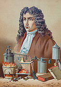 Denis Papin FRS [Dionisio Papin] (22 August 1647 – 26 August 1713) was a French physicist, mathematician and inventor, best known for his pioneering invention of the steam digester, the forerunner of the pressure cooker and of the steam engine From the book La ciencia y sus hombres : vidas de los sabios ilustres desde la antigüedad hasta el siglo XIX T. 2  [Science and its men: lives of the illustrious sages from antiquity to the 19th century Vol 2] By by Figuier, Louis, (1819-1894); Casabó y Pagés, Pelegrín, n. 1831 Published in Barcelona by D. Jaime Seix, editor , 1879 (Imprenta de Baseda y Giró)