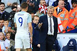 England Manager Roy Hodgson shakes hands with Jamie Vardy - Mandatory byline: Matt McNulty/JMP - 07966386802 - 22/05/2016 - FOOTBALL - Etihad Stadium -Manchester,England - England v Turkey - International Friendly