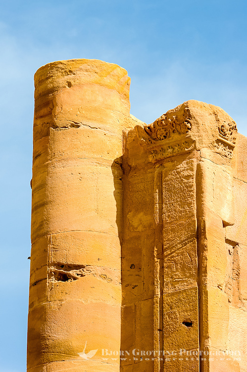 Petra is Jordan's most visited tourist attraction. Ruins of the great temple.