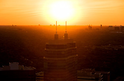 Aerial sunset view of O'Quinn Medical Tower at St. Luke's Hospital in Houston's Texas Medical Center.