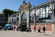 Exterior of Les Halles (central market building), on 23rd May, 2017, in Narbonne, Languedoc-Rousillon, south of France