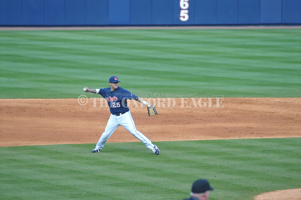 Ole Miss' Andrew Mistone (25) throws to first for an out vs. TCU at Oxford-University Stadium on Saturday, February 16, 2013. Ole Miss won 5-2.