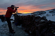 Sunset from the Dee Wright Observatory on McKenzie Pass, Tuesday, February 26, 2008.  I rode with Brent McGregor to the pass on his snowmobile.