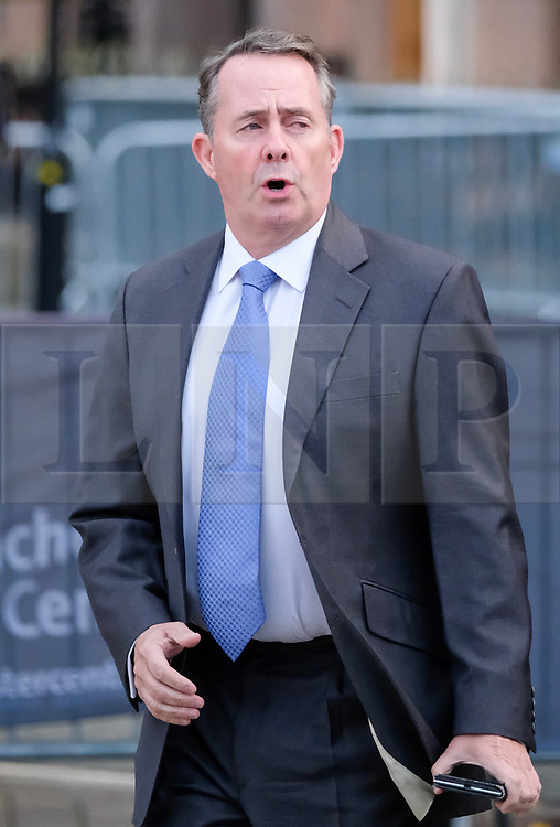 (c) Licensed to London News Pictures. <br /> 03/10/2017<br /> Manchester, UK<br /> <br /> International Trade Secretary, Liam Fox leaves the Midland Hotel at the start of day three at the Conservative Party Conference held at the Manchester Central Convention Complex.<br /> <br /> Photo Credit: Ian Forsyth/LNP