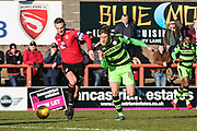 Forest Green Rovers Dayle Grubb(8) passes the ball forward during the EFL Sky Bet League 2 match between Morecambe and Forest Green Rovers at the Globe Arena, Morecambe, England on 17 February 2018. Picture by Shane Healey.
