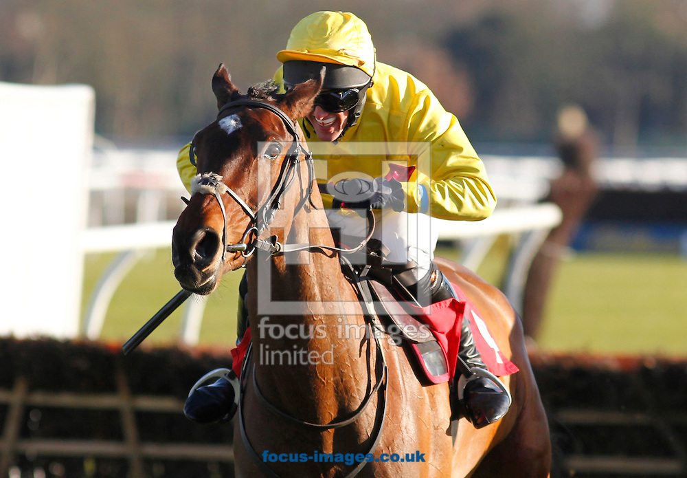 Joseph Palmowski (yellow colours) riding Under The Phone winning the Join The Racing UK Club Novices' Handicap Hurdle at Kempton Park, Sunbury<br /> Picture by John Hoy/Focus Images Ltd +44 7516660607<br /> 06/02/2015