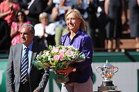 Martina NAVRATILOVA / Jean GACHASSIN  - 06.06.2015 - Jour 14 - Finale Femmes - Roland Garros 2015<br />Photo : Nolwenn Le Gouic / Icon Sport