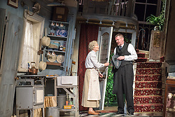 © Licensed to London News Pictures. 08/07/2013. The Ladykillers by Graham Linehan at The Vaudeville Theatre, London. Based on the Ealing Comedy screenplay, this stage production has been adapted by Graham Linehan. Picture shows: Angela Thorne (Mrs Wilberforce) & John Gordon Sinclair (Prof Marcus). Photo credit: Tony Nandi/LNP