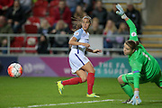 Fara Williams (England) is put in on goal, but only manages to fire the ball wide past the dive of Justien Odeurs (GK) (Belgium) during the Euro 2017 qualifier between England Ladies and Belgium Ladies at the New York Stadium, Rotherham, England on 8 April 2016. Photo by Mark P Doherty.