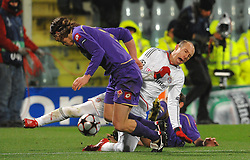 09.03.2010, Stadio Artemio Franchi, Florenz, ITA, UEFA Championsleague, AC Florenz vs Bayern Muenchen, im Bild Per KROLDRUP, ARJEN Robben., EXPA Pictures © 2010, PhotoCredit: EXPA/ InsideFoto/ Andrea Staccioli / for Slovenia SPORTIDA PHOTO AGENCY.