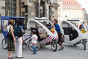 Altstadt, Fahrrad-Rikschas am Neumarkt, Dresden, Sachsen, Deutschland.|.Dresden, Germany,  old town, trishawons Newmarket