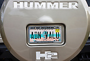 Vehicle registration plate on Hummer sports utility vehicle in Anna Maria Island, United States of America