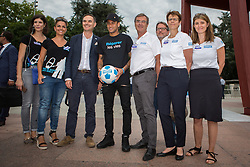 Handout photo. PSG 's new star Neymar Jr became Handicap International's first-ever ambassador at a ceremony at the United Nations in Geneva, Switzerland on August 15, 2017. Photo by Pierre Albouy/Handicap International/ABACAPRESS.COM