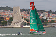 PORTUGAL, Lisbon. 9th June 2012. Volvo Ocean Race, Oeiras In-Port Race. Groupama Sailing Team, with Monument to the Discoveries in the background.