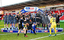 Free to use courtesy of Sky Bet - Wigan Athletic lift the Sky Bet League One Winners trophy - Mandatory by-line: Matt McNulty/JMP - 05/05/2018 - FOOTBALL - The Keepmoat Stadium - Doncaster, England - Doncaster Rovers v Wigan Athletic - Sky Bet League One