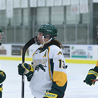 5th year forward Kylie Gavelin (13) of the Regina Cougars during the Women's Hockey Homeopener on October 7 at Co-operators arena. Credit: Arthur Ward/Arthur Images