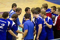Ivan Vajdl, coach of Trimo with his players during handball match between RK Celje Pivovarna Lasko and Trimo Trebnje of last Round of 1st Slovenian Handball league, on May 27, 2011 in Arena Zlatorog, Celje, Slovenia. Celje defeated Trimo 32-28 and win 3rd place in Slovenian National Championship. (Photo By Vid Ponikvar / Sportida.com)