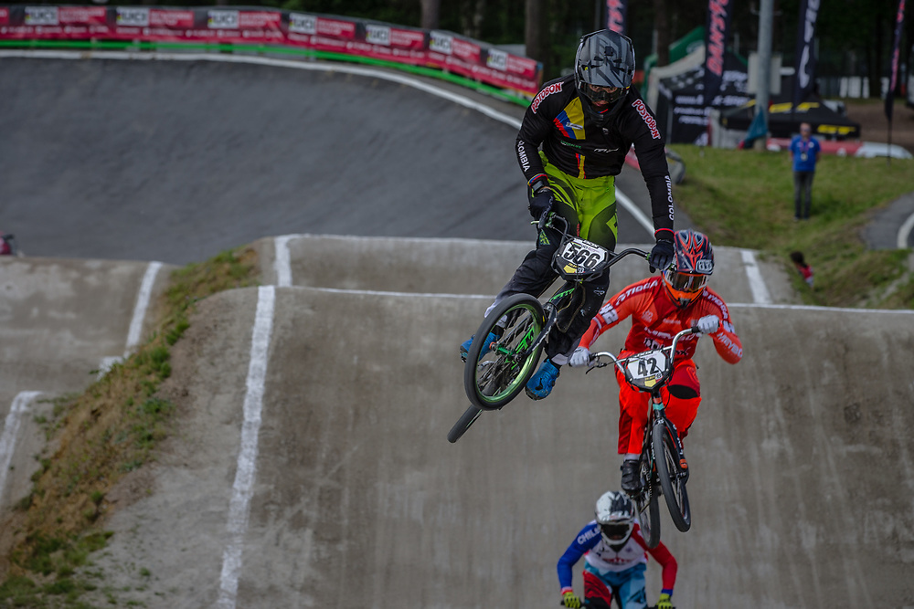 #566 (OQUENDO ZABALA Carlos Mario) COL during round 4 of the 2017 UCI BMX  Supercross World Cup in Zolder, Belgium.