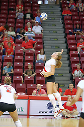18 AUG 2007: Kaite Culbertson goes up for a slam. The Illinois State Redbirds, picked for 5th in the pre-season Missouri Valley Conference coaches poll, prepare for the beginning of the season during the annual Red/White inter-squad scrimmage at Redbird Arena in Normal Illinois.