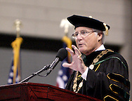 WSU president Dr. David R. Hopkins speaks during the 43rd Semiannual Commencement at the Nutter Center, Saturday, June 12, 2010.