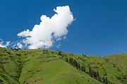 Puffy clouds above green hilside