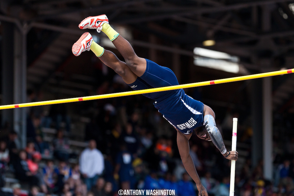 Robert Mercer of Howard University clears a vault during the College Men's Pole Vault at the Penn Relays on Friday, April 25, 2014 in Philadelphia, PA.