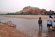Morocco, High Atlas Mountains, Ait Benhaddou Kasbah and Ounila river fording