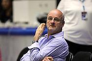 4.8.2014, Jäähalli, Helsinki, Finland.<br /> Koripallomaaottelu Suomi - Liettua / Basketball Friendly International match, Finland v Lithuania.<br /> Coach Henrik Dettmann - Finland