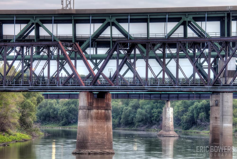 Bridges over the Kansas River seen from Kaw Point Park in Kansas City, Kansas.