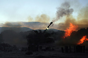 An Israeli artillery position along the Israel Lebanon border August 13,2006.(Photo by Heidi Levine/Sipa Press).