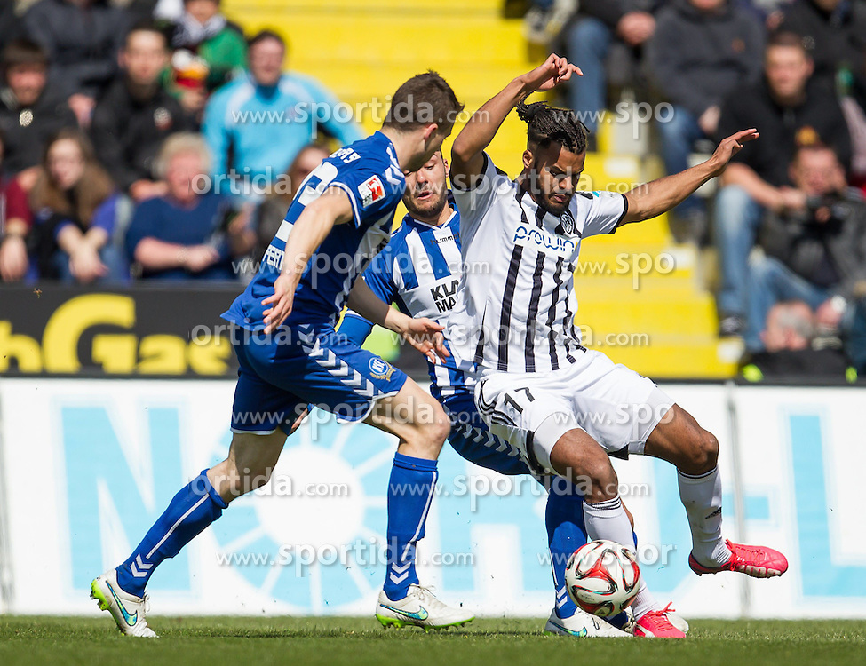 05.04.2015, Scholz Arena, Aalen, GER, 2. FBL, VfR Aalen vs Karlsruher SC, 27. Runde, im Bild Phil Ofosu-Ayeh ( VFR Aalen) gegen Jonas Meffert ( Karlsruher SC ) // during the 2nd German Bundesliga 27th round match between VfR Aalen and Karlsruher SC at the Scholz Arena in Aalen, Germany on 2015/04/05. EXPA Pictures &copy; 2015, PhotoCredit: EXPA/ Eibner-Pressefoto/ Bozler<br /> <br /> *****ATTENTION - OUT of GER*****