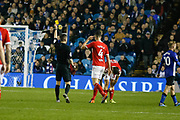 Referee Peter Bankes shows a yellow card to Middlesbrough defender Daniel Ayala (4)  during the EFL Sky Bet Championship match between Sheffield Wednesday and Middlesbrough at Hillsborough, Sheffield, England on 19 October 2018.