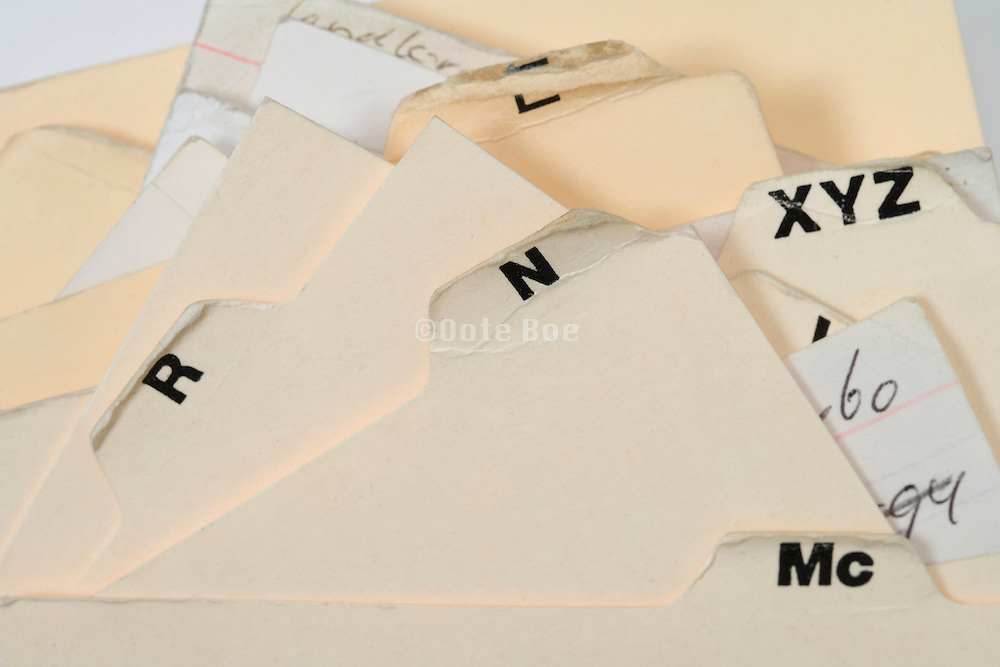 extreme close up of a alphabetic filing cards system