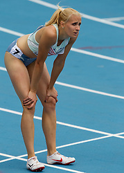 Sabina Veit of Slovenia after competing in the Womens 200m Heat during day four of the 20th European Athletics Championships at the Olympic Stadium on July 30, 2010 in Barcelona, Spain. (Photo by Vid Ponikvar / Sportida)