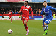 Gavin Tomlin chasing down the ball during the Sky Bet League 1 match between Crawley Town and Gillingham at the Checkatrade.com Stadium, Crawley, England on 28 March 2015. Photo by Michael Hulf.