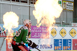 Anze Ropret (HDD Tilia Olimpija, #29) during ice-hockey match between HDD Tilia Olimpija and HK Acroni Jesenice in second game of Final at Slovenian National League, on April 3, 2011 at Hala Tivoli, Ljubljana, Slovenia. (Photo By Matic Klansek Velej / Sportida.com)