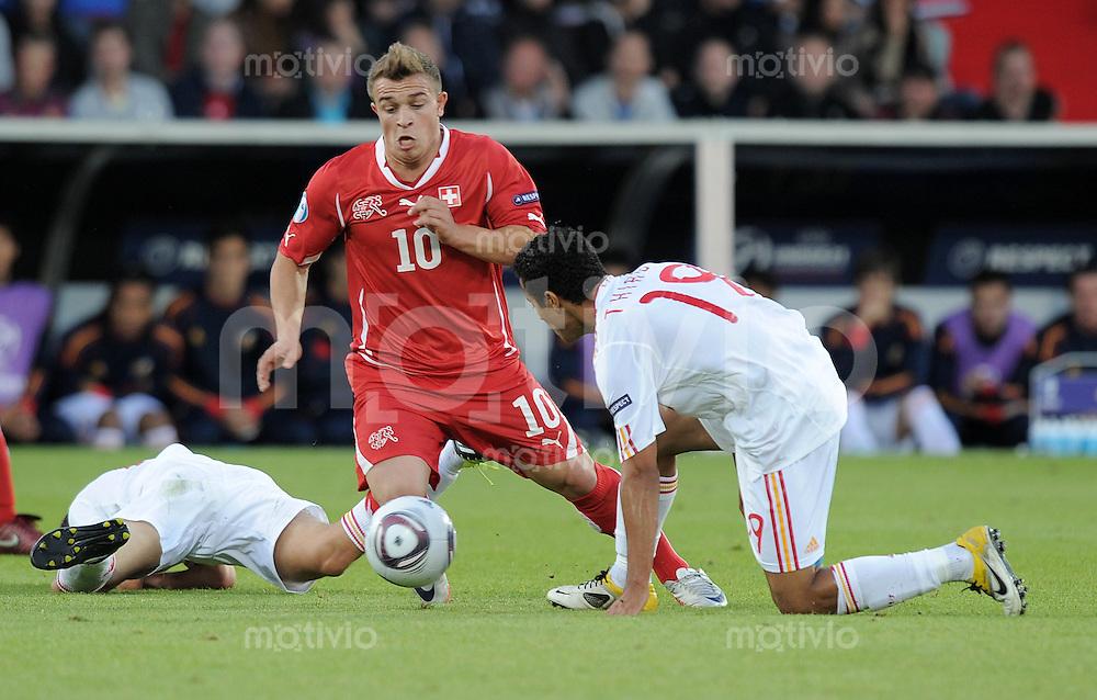 FUSSBALL   UEFA U 21-EUROPAMEISTERSCHAFT 2011   FINALE  25.06.2011 Schweiz - Spanien Xherdan Shaqiri (li, Schweiz) gegen Thiago Alcantara (re, Spanien)