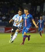 Dundee's Luka Tankulic and Inverness Caledonian Thistle's Josh Meekings - Inverness Caledonian Thistle v Dundee, SPFL Premiership at Tulloch Caledonian Stadium<br /> <br />  - &copy; David Young - www.davidyoungphoto.co.uk - email: davidyoungphoto@gmail.com