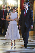 Queen Letizia of Spain, King Felipe VI of Spain attended a Reception for The National Day at Zarzuela Palace on October 12, 2018 in Madrid, Spain.