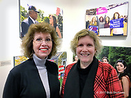 """Huntington, New York, USA. March 5, 2017.  BETH E. LEVINTHAL, a Member at Large of HAC, and ANN PARRY at Opening Reception of """"Her Story Through Art"""" Invitational Art Show, celebrating Women's History Month, at Huntington Arts Council, Main Street Gallery. Artists Tara Leale Porter, Irene Vitale, Anahi DeCanio, Ann Parry, Show March 2 - 25, 2017."""