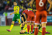 Timm Klose (Capt) (Norwich) injured in a tackle with Panutche Camara (Crawley Town) during the EFL Cup match between Crawley Town and Norwich City at The People's Pension Stadium, Crawley, England on 27 August 2019.