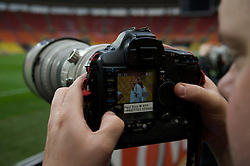 MOSCOW, RUSSIA - Tuesday, May 20, 2008: A cameraman checks his image of Chelsea's Frank Lampard during training ahead of the UEFA Champions League Final against Manchester United at the Luzhniki Stadium. (Photo by David Rawcliffe/Propaganda)
