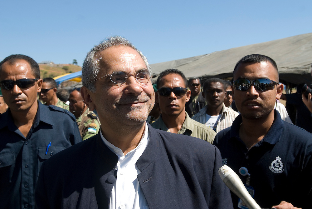 Incoming President Jose Ramos Horta attends a parade a parade put on for outgoing President Xanana Gusmao by the East Timorese Army.