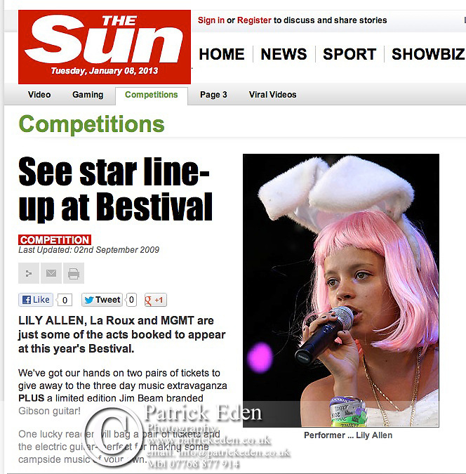 Lily Allen,The Bestival, 2006, The Sun, Published Photographs, by Patrick Eden Photography