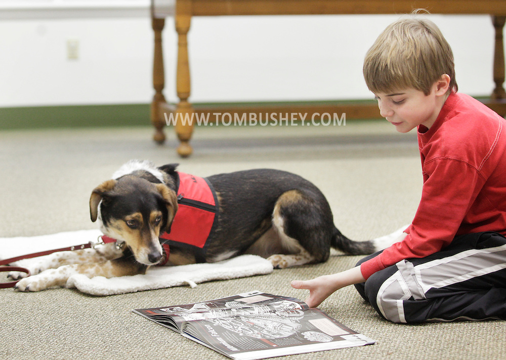 Jimmy Byrne reads aloud to Reading Therapy Assistance Dog  Milo during a FURacious reading program at Cornwall Library on Friday, Feb. 25, 2011.