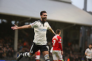Fulham defender, Michael Madl (15) celebrating scoring Fulham second goal during the Sky Bet Championship match between Fulham and Charlton Athletic at Craven Cottage, London, England on 20 February 2016. Photo by Matthew Redman.