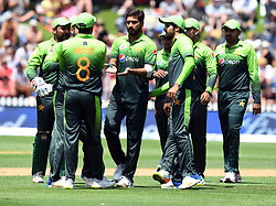 Pakistan's Rumman Raees, centre, after dismissing New Zealand's Martin Guptill for 100 in the fifth one day International Cricket match, Basin Reserve, Wellington, New Zealand, Friday, January 19, 2018