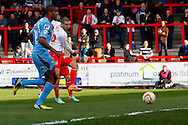 Jimmy Smith of Stevenage scores the opening goal during the Sky Bet League 1 match at the Lamex Stadium, Stevenage<br /> Picture by David Horn/Focus Images Ltd +44 7545 970036<br /> 08/03/2014